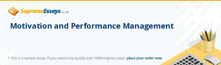 Motivation and Performance Management